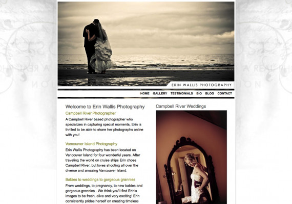 Thumbnail screenshot of Erin Wallis Photography website home page.