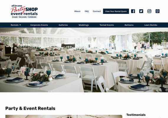 Thumbnail screenshot of All in One Party Shop website home page.
