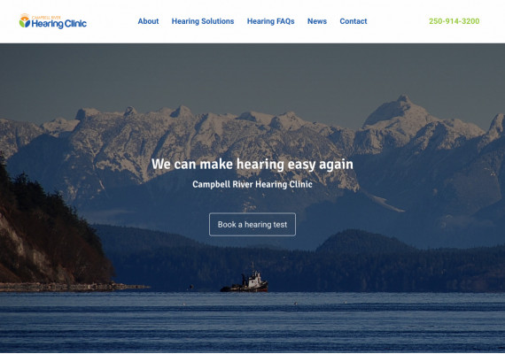 Thumbnail screenshot of Campbell River Hearing Clinic website home page.