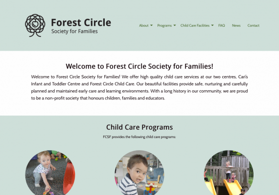 Thumbnail screenshot of Forest Circle Society for Families website home page.