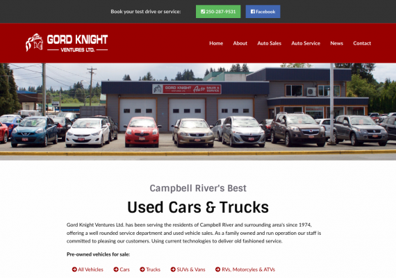 Thumbnail screenshot of Gord Knight Auto Sales & Service website home page.