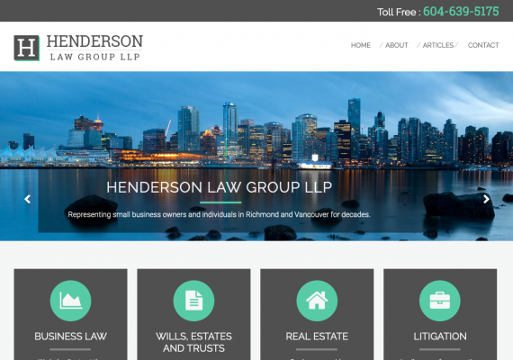 Thumbnail screenshot of Henderson Law Group website home page.