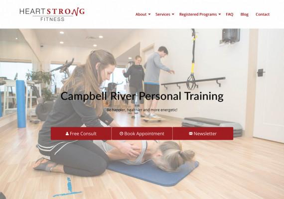 Thumbnail screenshot of Heart Strong Fitness website home page.