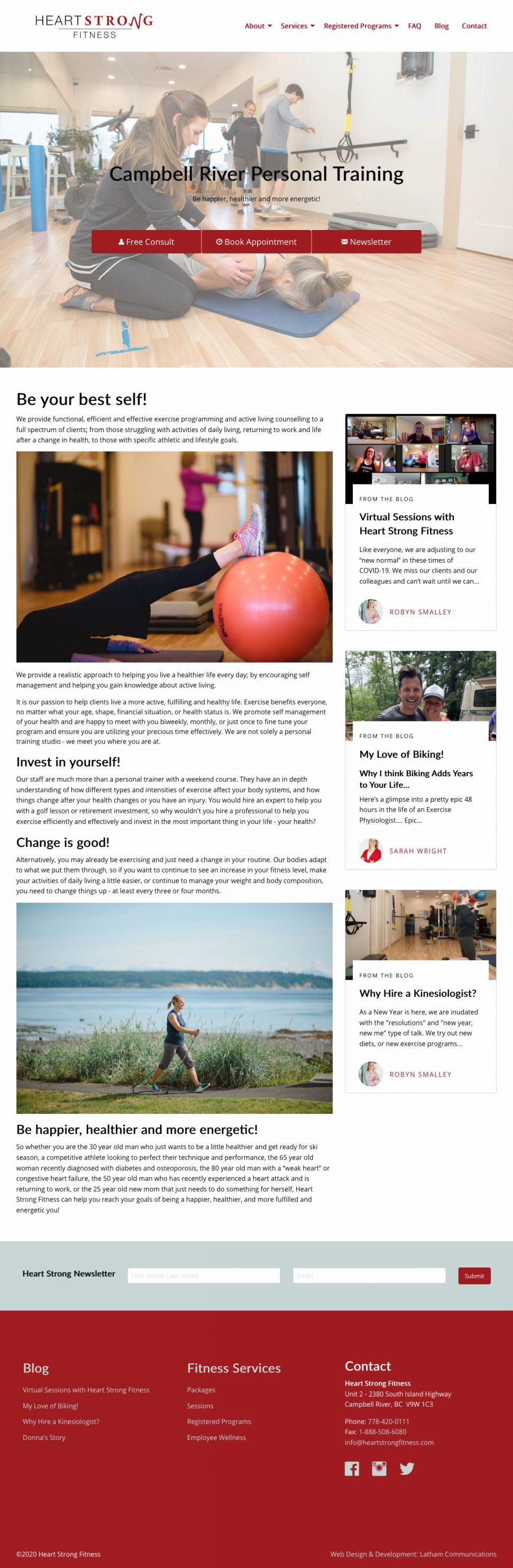 Screenshot of Heart Strong Fitness website home page.