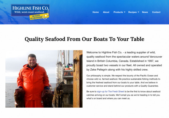 Thumbnail screenshot of Highline Fish Co website home page.