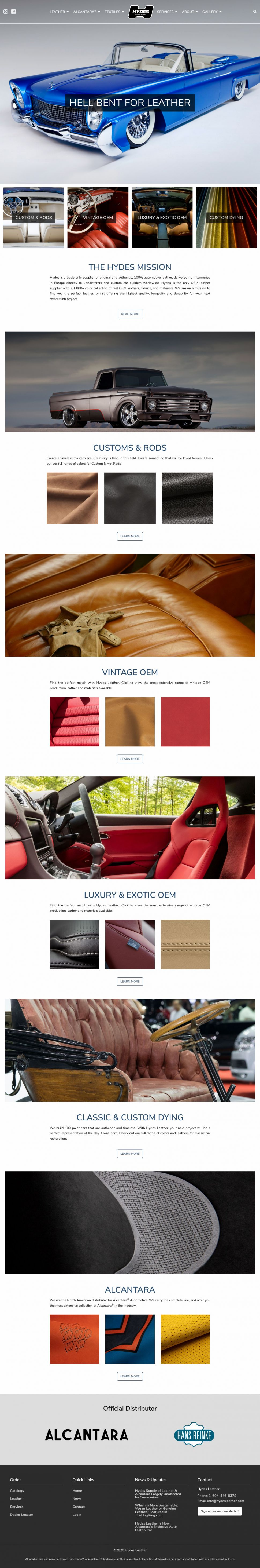 Screenshot of Hydes Leather website home page.