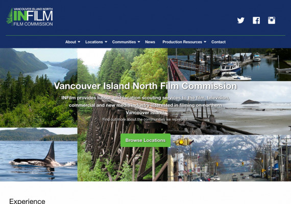 Thumbnail screenshot of North Island Film Commissioin website home page.