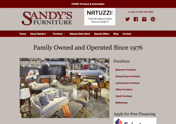 Thumbnail screenshot of Sandy's Furniture website home page.